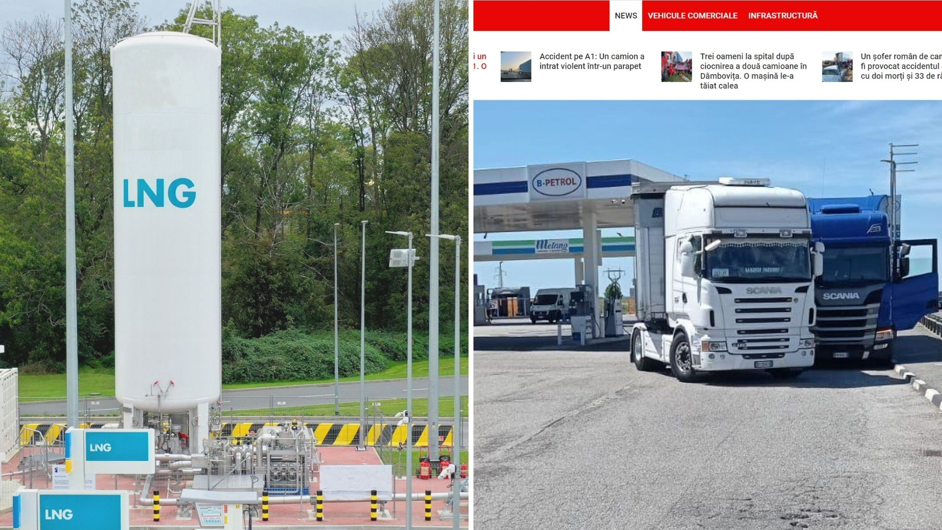Per plauką nuo tragedijos. Vairuotojas savo sunkvežimiu užblokavo kitą, kuris važiavo tiesiai į metano baką