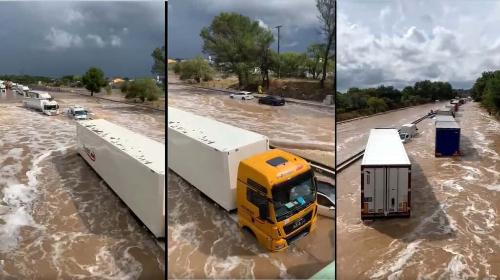 Cars and lorries under water on southern French motorway after heavy rain