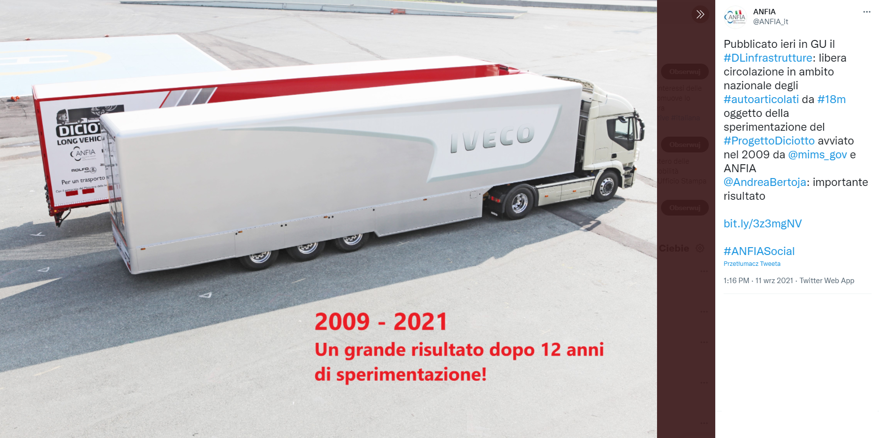 Italy introduces 18-metre-long vehicle sets on the roads
