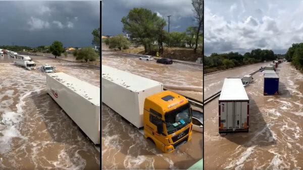 Katasztrófa Franciaországban: az A9-es autópálya hömpölygő folyóvá duzzadt