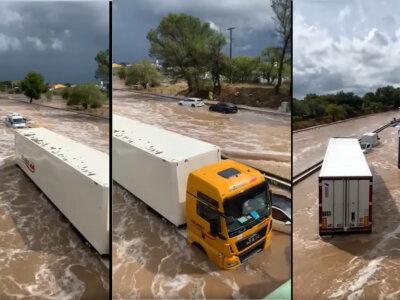 Стихийное бедствие во Франции. Автомагистраль A9 – как дикая река [ВИДЕО]