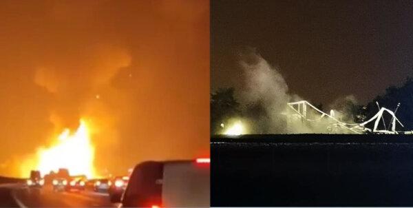 Взрыв грузовика с дезодорантами на шоссе. От него остался лишь пепел