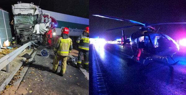 Poważny wypadek na S8. Rannego kierowcę ciężarówki zabrał helikopter